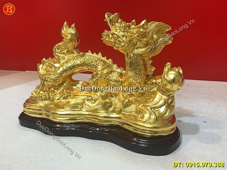 Tượng Rồng Bằng Đồng Dát Vàng Dài 40cm
