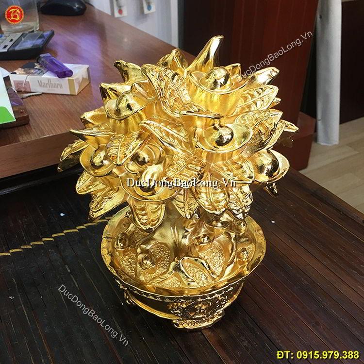 Cây Tiền Tài Lộc Mạ Vàng 24k Cao 21cm