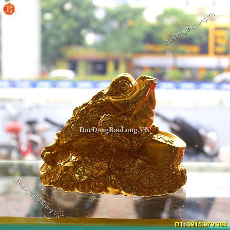 Cóc Ngậm Tiền Bằng Đồng Dát Vàng 9999