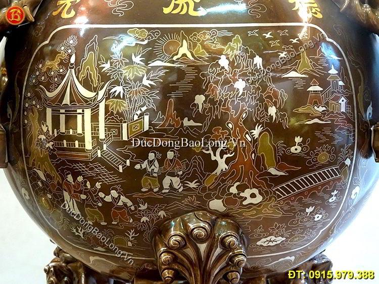 Đỉnh Đồng Thất Lân Khảm 11 Chữ Vàng Cao 1m1