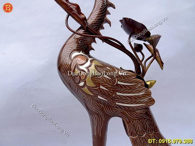 Hạc Đồng Thờ Cúng Khảm Ngũ Sắc 50cm