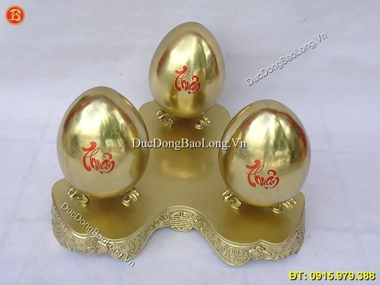 Quả Trứng Phong Thủy Bằng Đồng Phúc Lộc Thọ