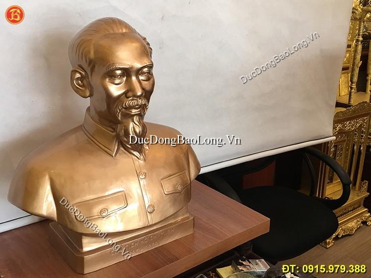 Tượng Bán Thân Bác Hồ Bằng Đồng Cao 48cm
