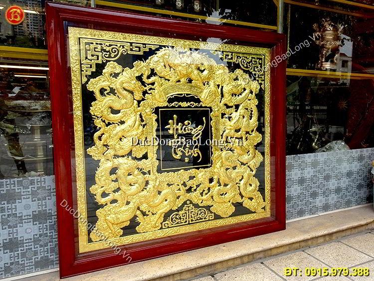 Tranh Đồng Cửu Long Hưng Thịnh Mạ Vàng 24k