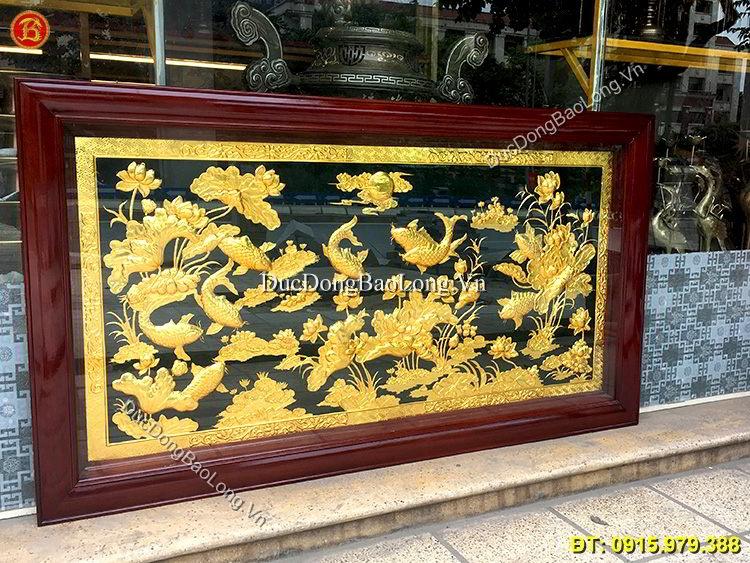 Tranh Đồng Cửu Ngư Mạ Vàng 24k Dài 1m76