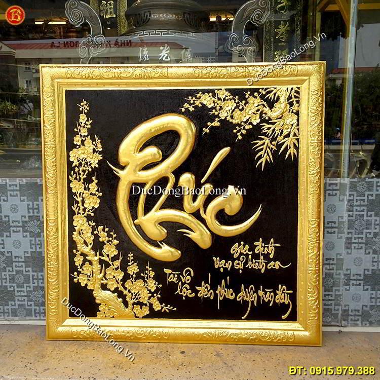 Tranh Chữ Phúc Dát Vàng Khung Đồng 81cm