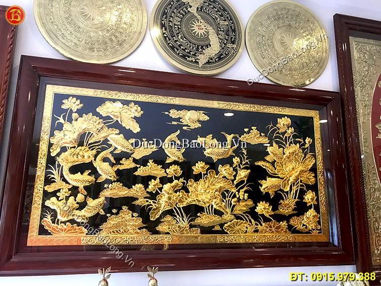 Tranh Cửu Ngư Hoa Sen Mạ Vàng 24k Dài 1m97