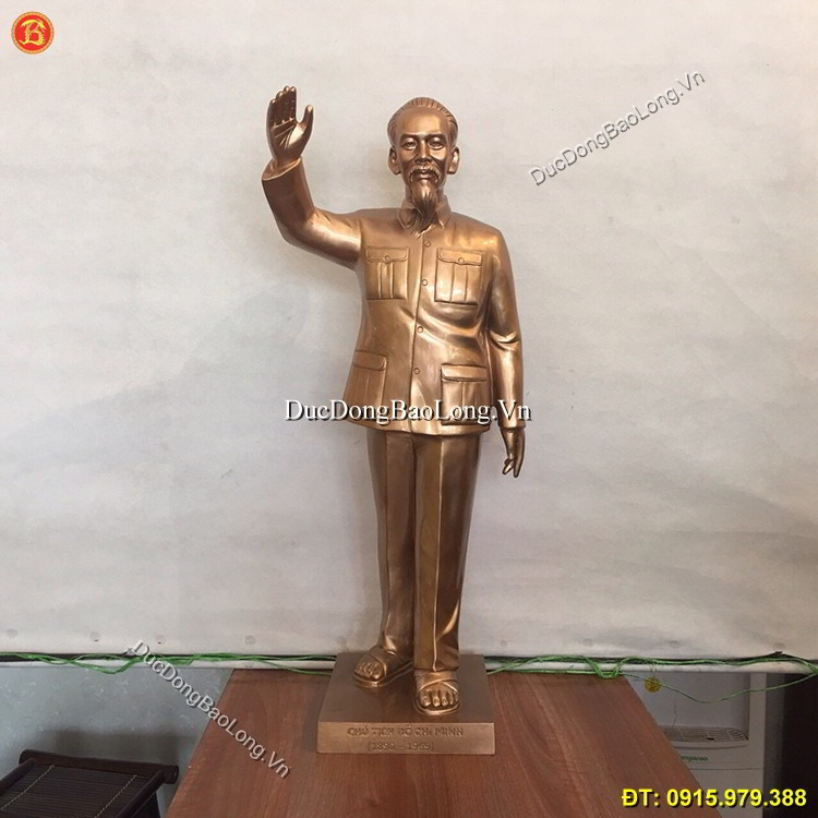 Tượng Đồng Bác Hồ Vẫy Tay Chào Cao 61cm