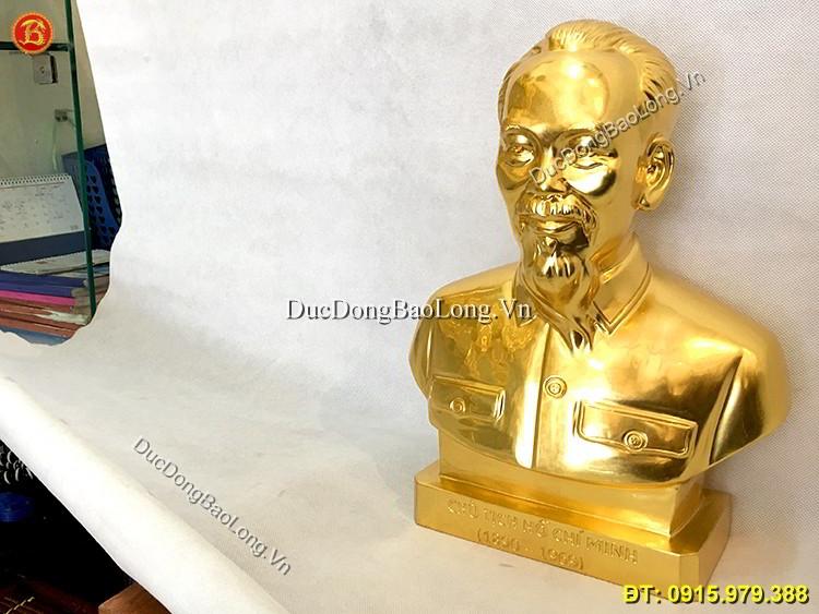 Tượng Bác Hồ Thếp Vàng 9999 Mẫu Chuẩn 37cm
