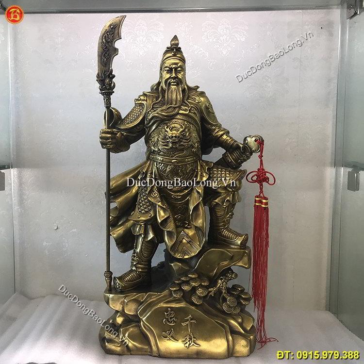 Tượng Quan Công Đứng Chống Đao Cao 63cm