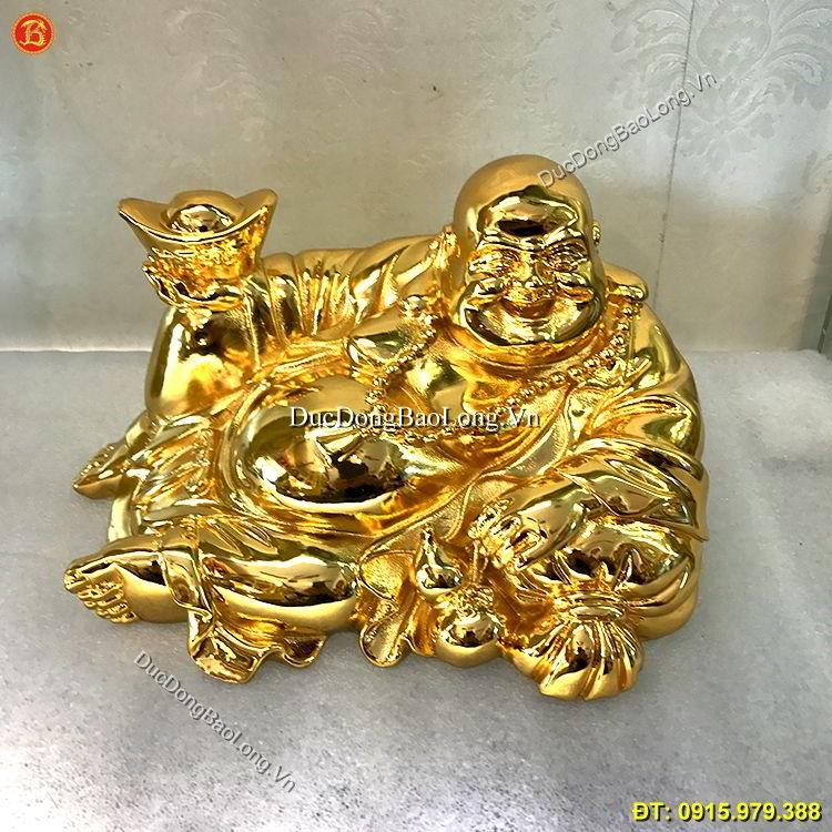 Tượng Đồng Di Lặc Mạ Vàng 24k Cao 15cm