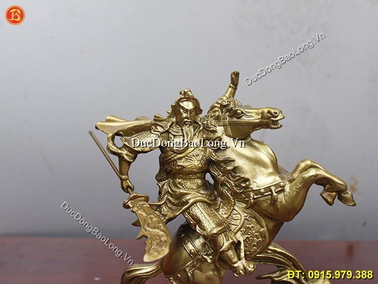 Tượng Quan Công Cưỡi Ngựa Bằng Đồng 24cm