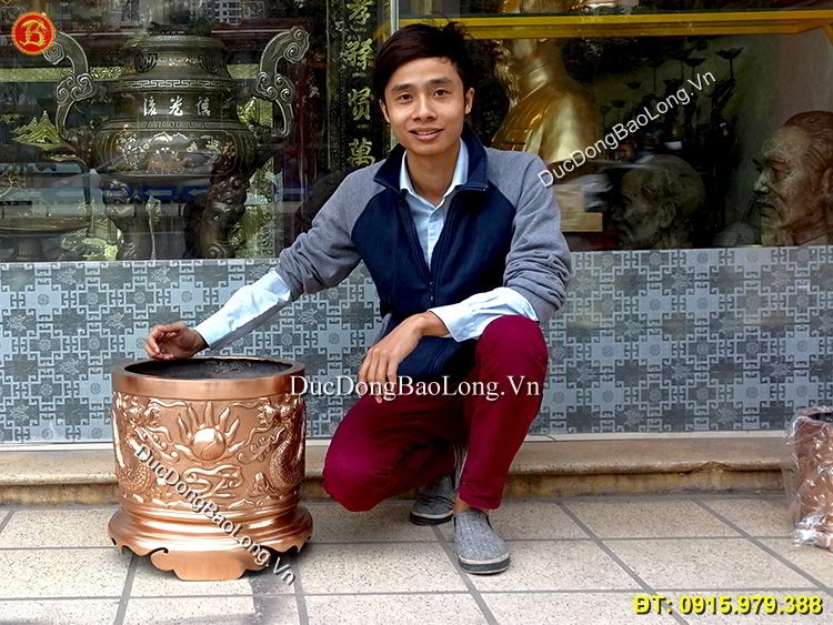 Bát Hương Đồng Thờ Cúng Rồng Nổi Đk 39cm