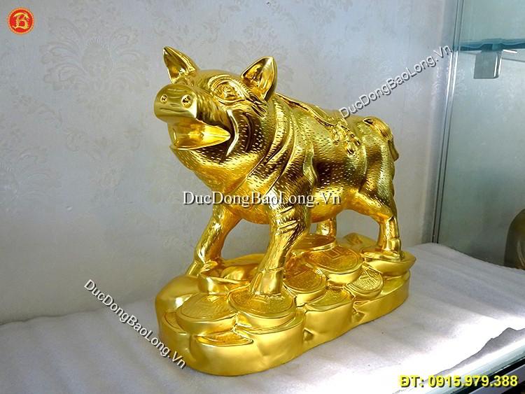 Con Lợn Bằng Đồng Dát Vàng 9999 Dài 38cm