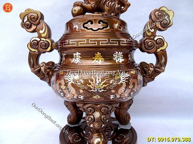Đồ Thờ Khảm Tam Khí 60cm Khảm Chữ Vàng