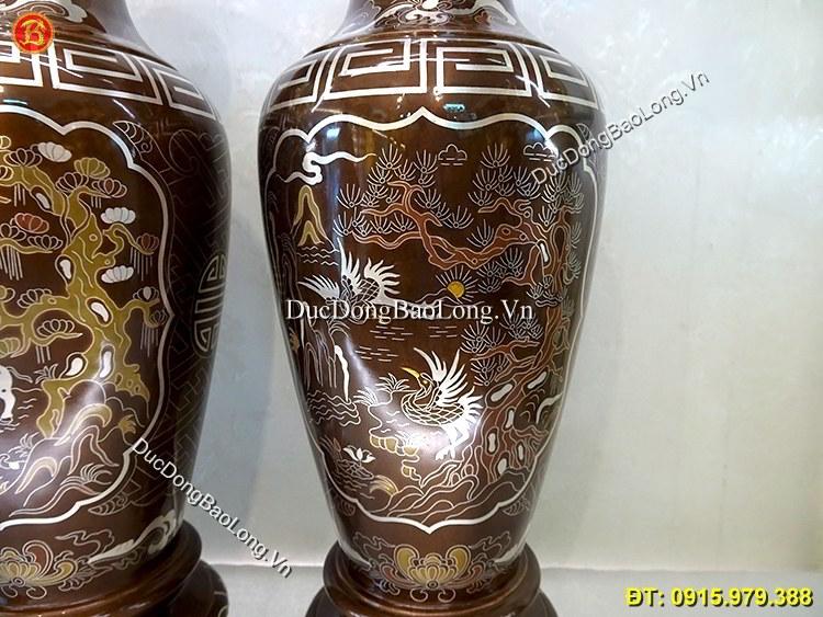 Đôi Lọ Hoa Bằng Đồng Khảm Ngũ Sắc 42cm