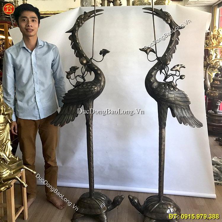 Hạc Thờ Bằng Đồng Hun Giả Cổ 2m17 Đình Chùa