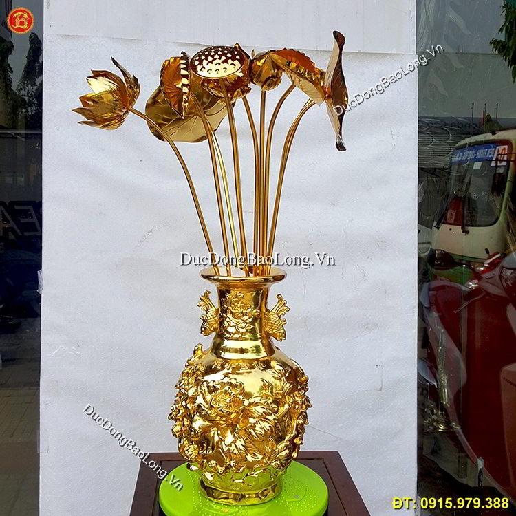 Lọ Hoa Sen Bằng Đồng Mạ Vàng 24k
