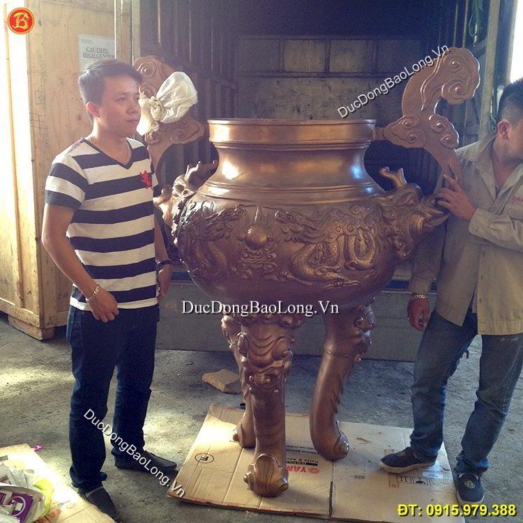 Lư Hương Đền Chùa Đúc Đồng Đỏ Cao 1m75