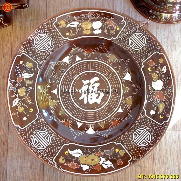 Mâm Bồng Bằng Đồng Khảm Ngũ Sắc 35cm