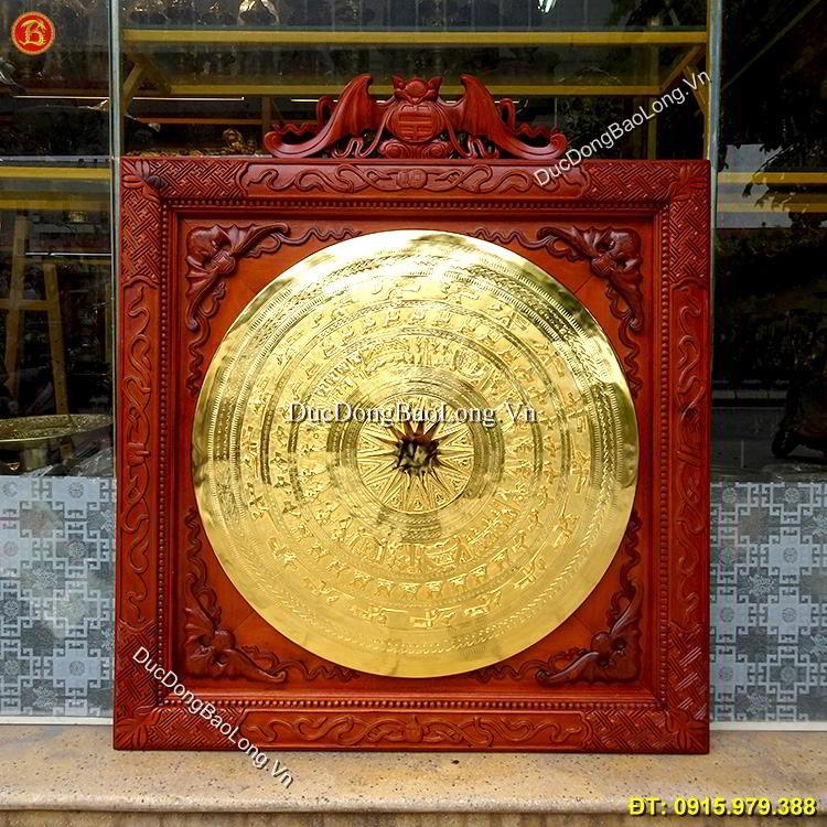 Mặt Trống Đồng Mạ Vàng Khung Gỗ Treo Tường