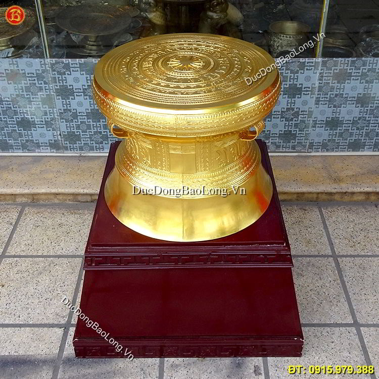 Quả Trống Đồng Dát Vàng 9999 Đk 50cm