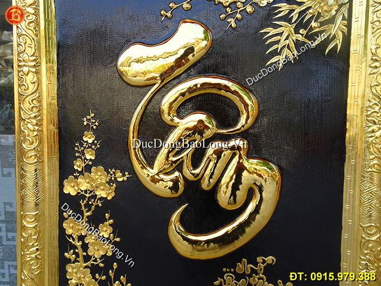 Tranh Đồng Chữ Tâm Mạ Vàng 24k Cao 88cm