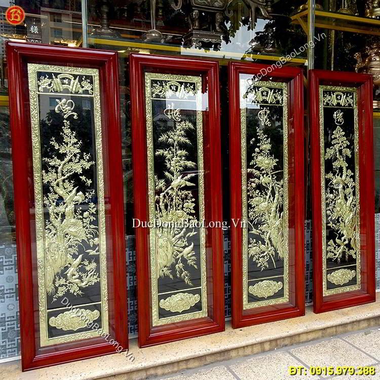 Tranh Đồng Tùng Cúc Trúc Mai Cao 1m27