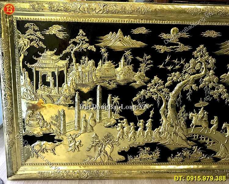 Tranh Đồng Vinh Quy Bái Tổ Khung Đồng 1m55
