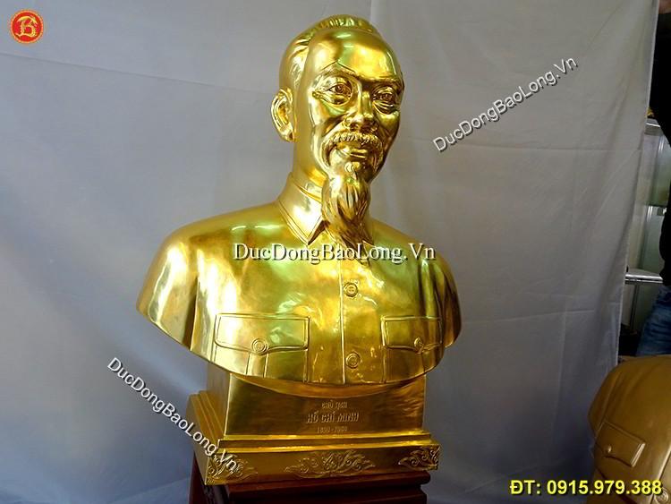Vàng 9999: Tượng Bác Hồ Dát Vàng 89cm Mẫu Đẹp