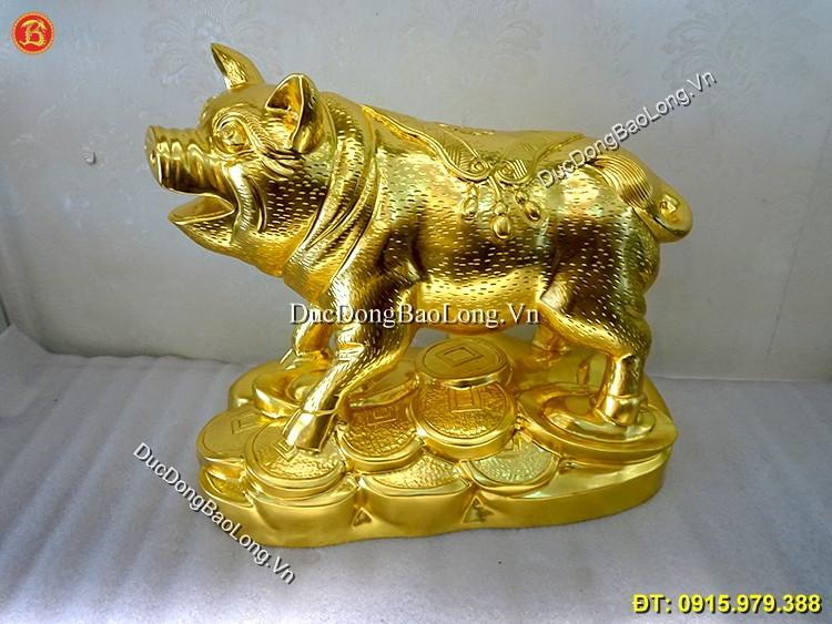 Vàng 9999: Con Lợn Bằng Đồng Dát Vàng 9999 Dài 38cm