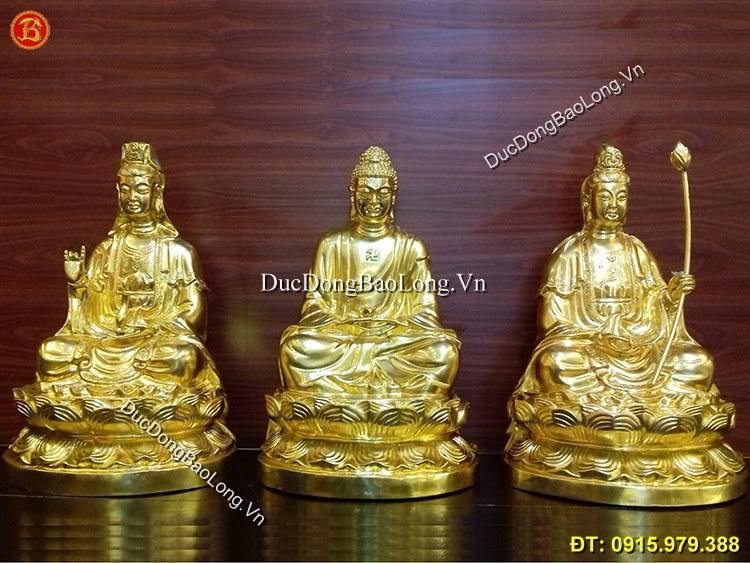 Tượng Đồng Tam Thánh Dát Vàng 9999 Cao 48cm
