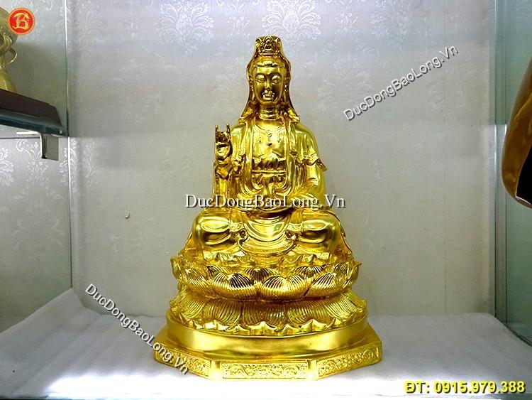 Vàng 9999: Tượng Quan Âm Bồ Tát Dát Vàng Cao 48cm