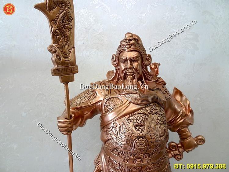 Tượng Đồng Quan Công Đứng Chống Đao 42cm