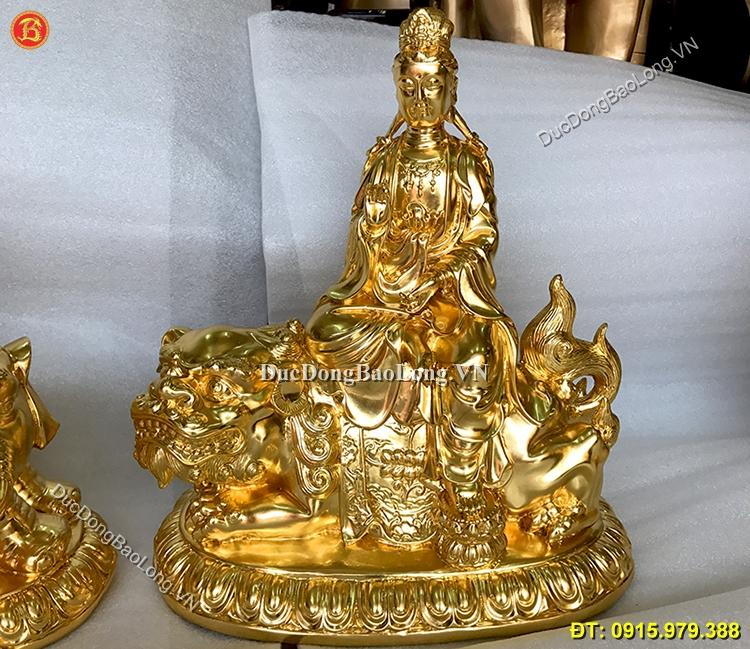 Tượng Văn Thù Phổ Hiền Bằng Đồng Dát Vàng