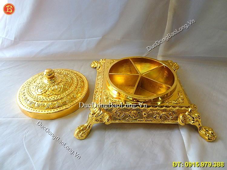 Khay Đựng Bánh Kẹo Tết Mạ Vàng 24k