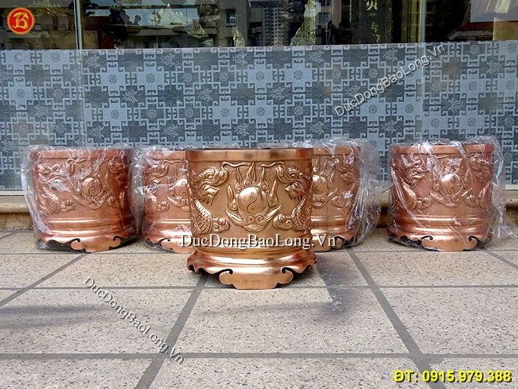 Bát Hương Đồng Đỏ Đúc Rồng Nổi ĐK 25cm
