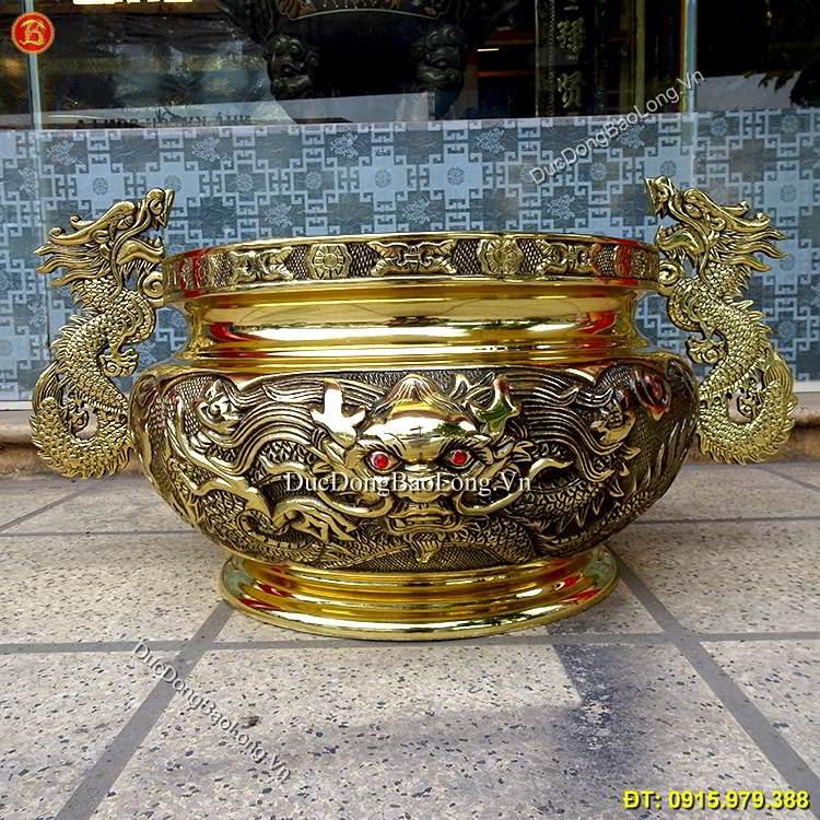 Bát Hương Đồng Tai Rồng Vàng ĐK 40cm