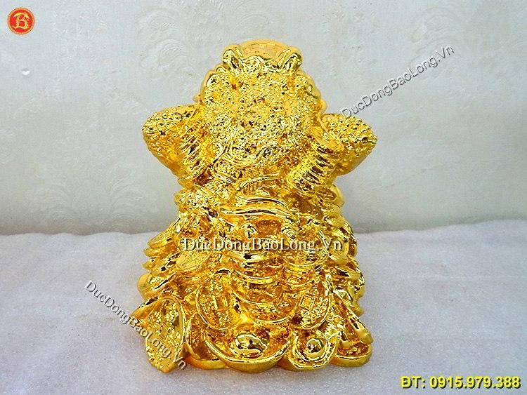 Cóc Ngậm Đồng Tiền Mạ Vàng 24k Cao 14cm
