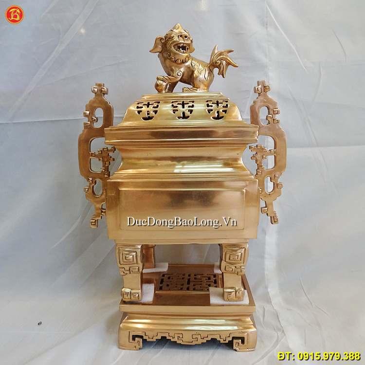 Đỉnh Đồng Vuông Tai Triện Thờ Cúng 50cm