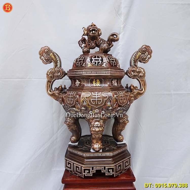 Đỉnh Đồng Bát Giác Khảm Tam Khí Cao 70cm