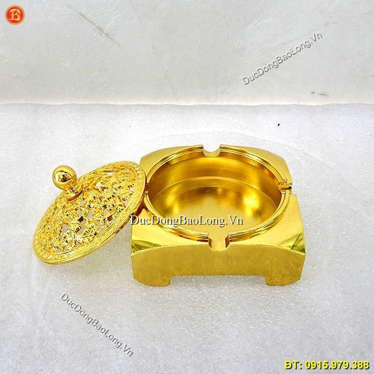 Gạt Tàn Thuốc Bằng Đồng Mạ Vàng 24k