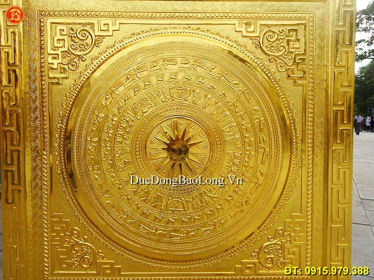 Tranh Mặt Trống Đồng Đông Sơn Mạ Vàng 1m27