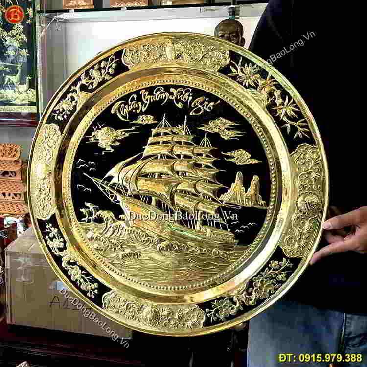 Mâm Thuận Buồm Xuôi Gió Bằng Đồng 50cm