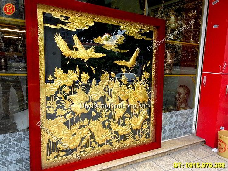 Tranh Sen Hạc Mạ Vàng 24k Cao 1m84