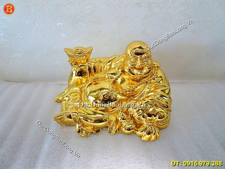 Tượng Phật Di Lặc Mạ Vàng 24k Rộng 22cm
