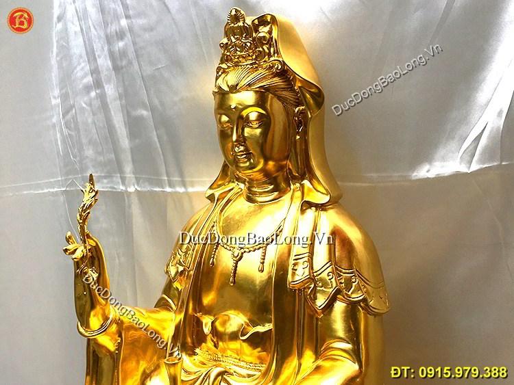 Tượng Phật Bà Quan Âm Dát Vàng Cao 68cm