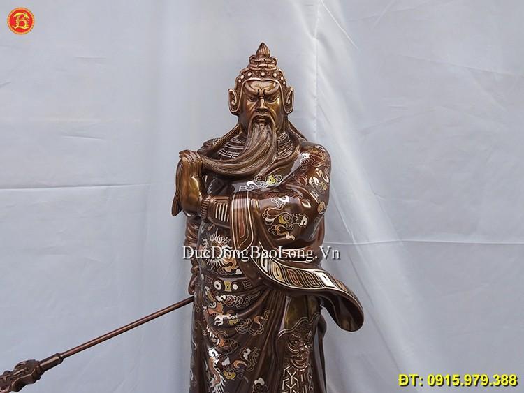 Tượng Quan Công Khảm Tam Khí Đẹp 69cm