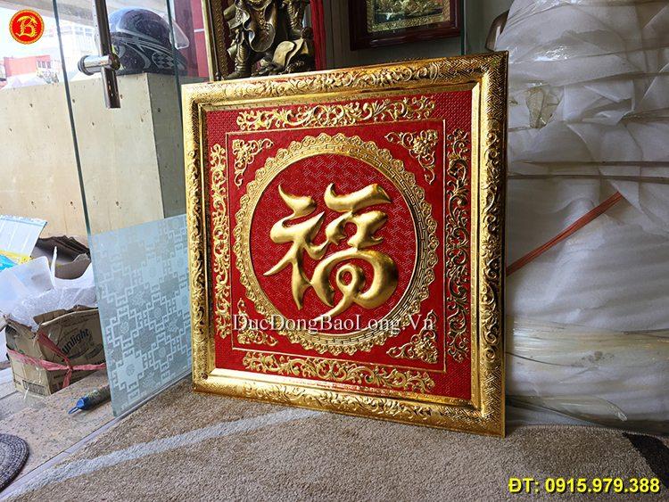 Chữ Phúc Tiếng Hoa Mạ Vàng 24k Vuông 81cm