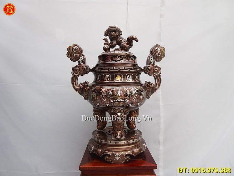 Bộ Đỉnh Đồng Thờ Cúng Khảm Tam Khí Cao 60cm